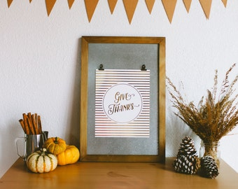 Real Gold Foil Give Thanks Art Print - Thanksgiving decor