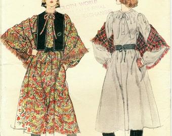 "1970s Vogue 9657 Boho Pullover Dress, Vest, Shawl Pattern Bust 31.5"" Misses' Sz 8"