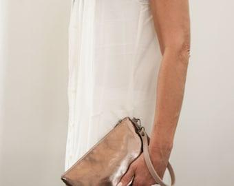 Leather Clutch. Bronze Clutch bag. Wristlet. Large Leather Pouch. Metallic Wristlet. Evening Clutch. Evening Wrist Purse. Free Shipping.