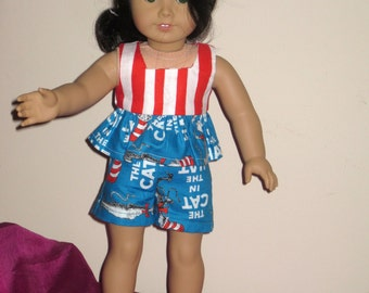 American Girl  Cat-in-the-Hat Play Set Shorts and Top