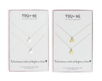 You + Me | The Love Between a Mother and Daughter, Gift for Daughter, Mother Daughter, Necklace, Christmas Gift Daughters, Silver Heart,