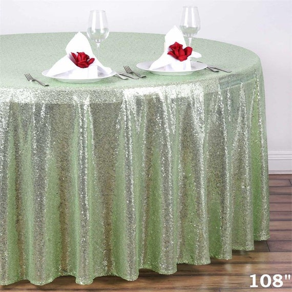 Mint sequin tablecloth 108 round tablecloth sparkle for 108 round table cloth