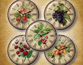 Vintage clock faces with fruits - 12, 14, 16, 18, 20 mm circles - Digital Collage Sheet - 352 HFD - Printable Download - Instant Download