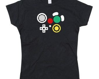 Ladies Gamecube Controller Joypad Buttons Tshirt