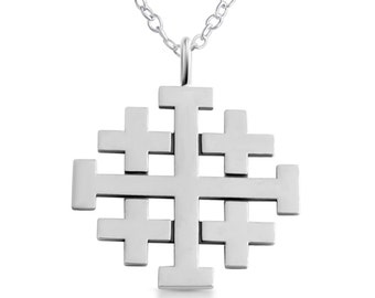 Jerusalem Crusaders Cross 5 Greek Crosses Symbol of the Christ's Wounds Religious Charm Pendant Necklace #925 Sterling Silver #Azaggi N0188S