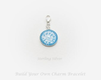 Sterling Silver Dandelion Charm, Hand Painted Charm, Bracelet Charms, Flower Charm, Dandelion, Build Your Own Charm Bracelet, UK