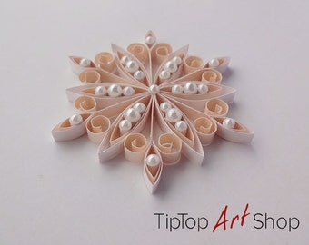 Quilled Christmas Ornament - Paper Snowflake in White and pale Peach; Winter Decoration; Gift Wrapping