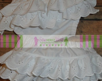 TWINS EYELET Lace Ruffle Diaper Cover Sizes Newborn thru 24 months