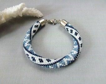 Coworker gift Beadwork Blue white bracelet Crochet seed bead bracelet Navy Denim Bead rope nautical bracelet Gift ideas Tribal boho bangle