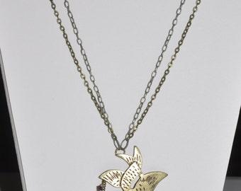 Steampunk Necklace Love Bird Assemblage #591