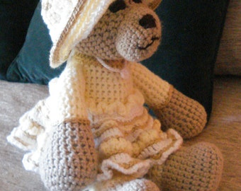 "Crocheted teddy bear stuffed animal doll toy ""Grace"""