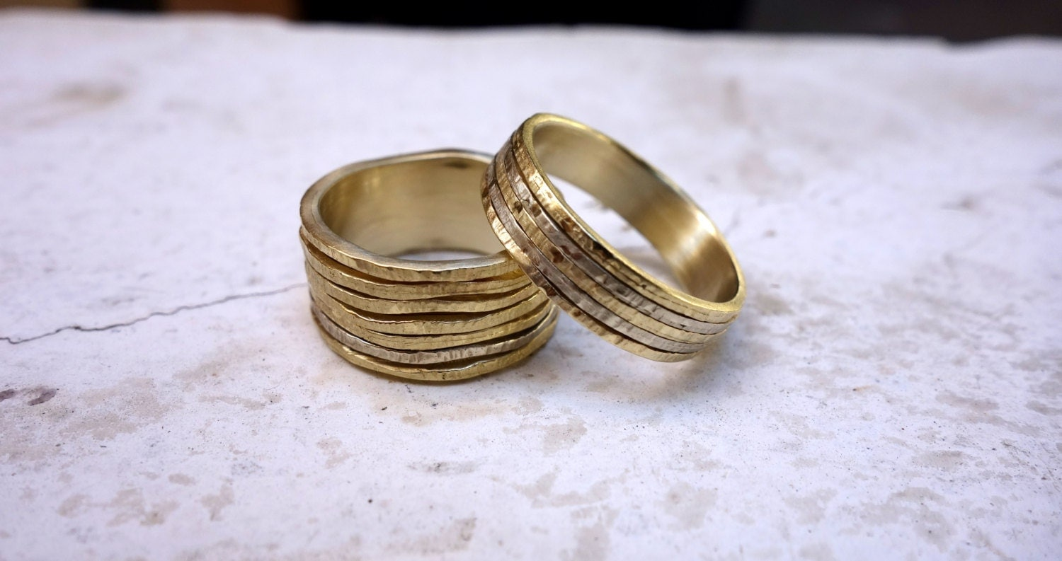 wedding ring set unique his and hers wedding bands by