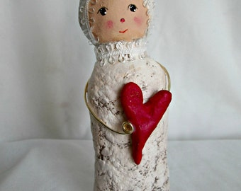Art Doll, Original OOAK Paper Mache, Girl With Heart, Whimsical Doll Sculpture, USA Shipping Included