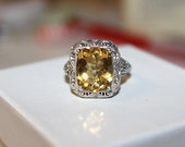 7 ct  Citrine Ring Vintage Sterling Silver Yellow Wedding Anniversary Gift Idea, Antique Wedding Ring, Vintage Citrine
