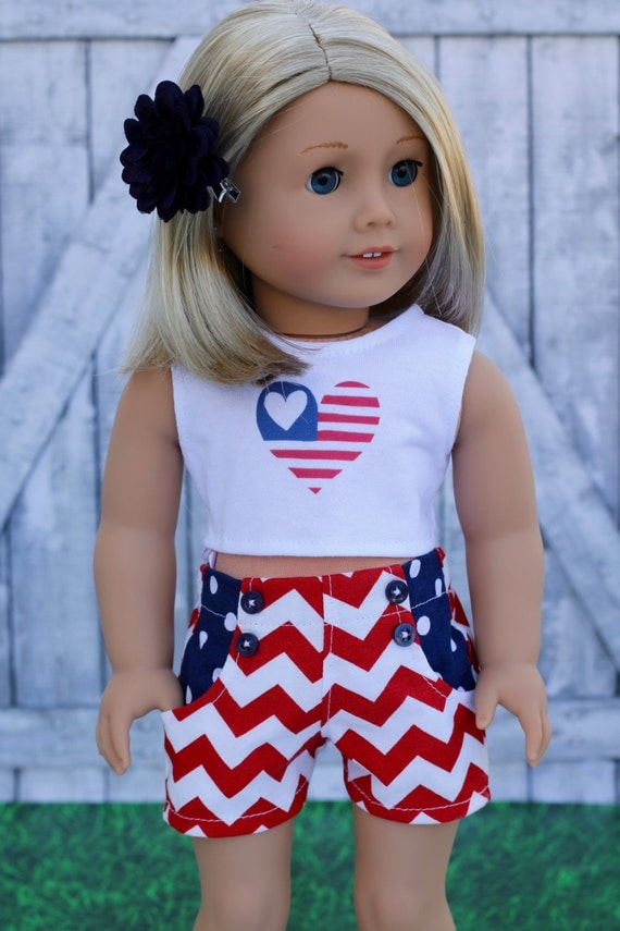 Doll Clothes | Trendy Independence Day Red White Chevron Blue Pocket SHORTS for 18 Inch Doll such as American Girl Doll