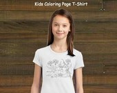 Coloring Book Page T-Shirt - Girls Mouse and Bird