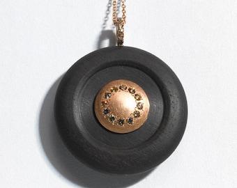 Ebony, 18 k rose gold and fancy diamonds statement necklace. gold pendant, circle pendant , Contemporary Art-to -wear, Designer jewelry.