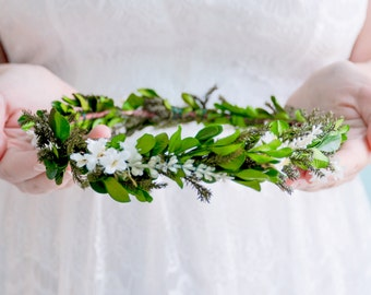 Flower crown, Floral halo, Bohemian wedding hair accessories, Bridal headpiece, Woodland wreath - MEADOW