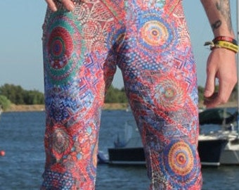 Men's Flare // Tribal Fractal Psychedelic Pants // Sacred Geometry // Burning Man Festival Clothing