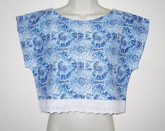 Summer Cotton Retro Print 80's Style Crop Top Blue White Vintage Abstract Size Small