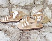 Hermes Gold Winged Kids/Baby Sandals/Genuine Greek High Quality Leather/Stripe Cute Sandals/ Gold Color/Slingback Slides Strap