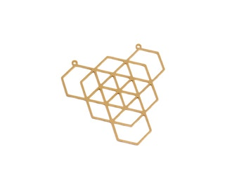 Gold Hexagons Pendant, 1 Pc Gold Plated Hexagons, Geometric Jewelry Pendant, Geometric Hexagons Pendant, Exclusive at Goldie Supplies