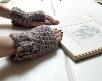 Chunky handwarmers, crochet hand warmers, pink/grey fingerless mitts