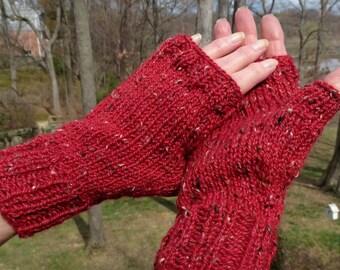 Fingerless Gloves Handknit Red Tweed Fingerless Gloves Merino Wool, Alpaca & Donegal Tweed Red Ladies' Handwarmers Fingerless Tweed Gloves