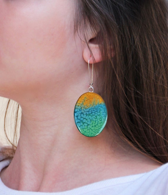 Multicolor earrings, yellow blue green ombré resin earrings, psychedelic long earrings, coachella jewelry, tie dye boho chic jewelry