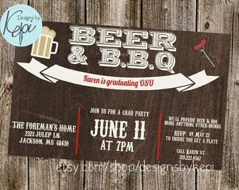 Graduation Invitation - Beer & BBQ