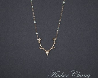 Minimalist Gold necklace Deer Antlers Necklace with gold filled chain