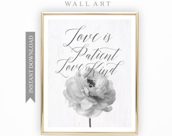 Love is Patient, Printable Art, Flower Art, Gift for her, Printable Black and White Wall Art, Printable Quote, Inspirational Quote Art