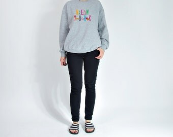 40% OFF SALE - Vintage New York Embroidered Oversized Unisex Sweatshirt