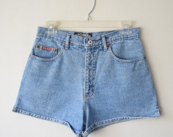 80s / 90s BREAKER JEANS Denim Shorts // High Waist, Side Slit // Old School Hip Hop, Soft Grunge, Hipster Festival Clothing, Back to School