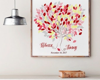 Wedding Tree Guest Book   Wedding Guest Book Tree   Personalized Wedding Print   50-300 Guests  Canvas or Flat Print  Pink  Burgundy Wedding
