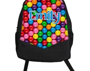 Custom Personalized BUBBLEGUM Childrens Kids GIRLS Backpack tote School Camp Monogram Candy Jar