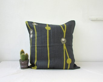 CLEARANCE Blue linen pillow cover, Romo Alani in wasabi, 16 inch denim blue and lime green cushion cover, throw pillow, handmade in the UK