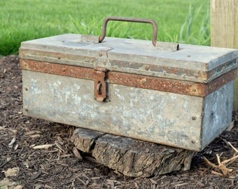Antique Hand Made Metal Tool Box. Vintage Galvanized Metal Toolbox. Industrial Rustic Farmhouse Man Cave Decor Office & Boys Room Storage