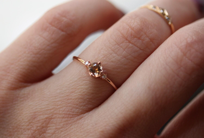 14k Morganite Diamond Ring 14k Rose Gold Solid Gold