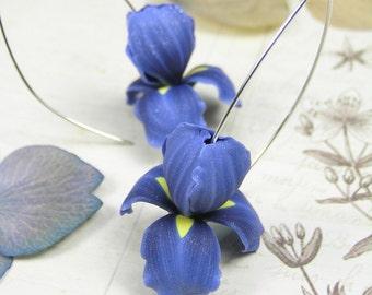 Blue iris polymer clay earrings