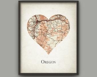 Oregon State Map Print Love Heart Oregon State Oregon State Travel Poster Oregon