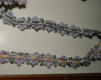 """Purple Flower Braid Gimp Trim 7/8"""" - By the Yard"""