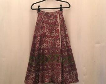 Vintage Indian Cotton Wrap Block Print Skirt