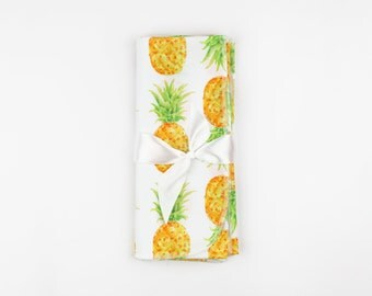 Pineapple Swaddle Blanket // Baby Shower Gift // Baby Girl Gift // Newborn Swaddle Blanket // Watercolor Pineapple Swaddle