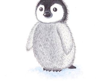 Penguin art print. Animal nursery art decor. Kids room wall art. Cute whimsical penguin watercolor painting. Penguin winter illustration.