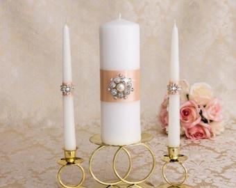Unity Candle Set, Wedding Candles, Unity Wedding Candle Set, Crystal and Pearl Wedding Candles, Wedding Unity Candle Set