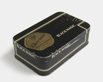 1920s Vintage Rowntree & Co Black Magic Chocolate Tin - gold large old advertising metal royal sweet container British English 1930s 1910s