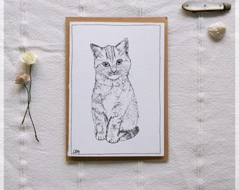 Kitten ~ Gift Card featuring Detailed Ink Illustration
