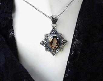 Smoky quartz pendant,smoky quartz necklace, smoky quartz jewelry, smoky quartz necklaces, oxidized silver necklace, 925 silver necklace