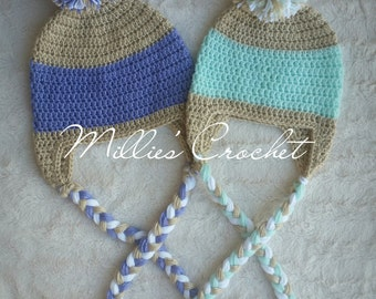 Double Color Earflap hat with POM POM and Braided Tassels